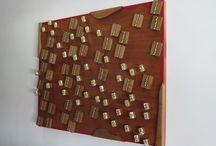BATALLA / Materiales: Madera de nogal, pintura acrilica, madera terciada  Medidas: 65 cm x 82 cm x 6 cm  Composite work by: walnut wood, acrylic paint, plywood  Size: 65 cm x 82 cm x 7 cm