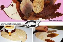 ježek z listí