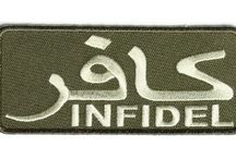 Infidel Biker Patches / hese Infidel Patches are embroidered patches. These are sewn on or iron on applications. / by The Cheap Place