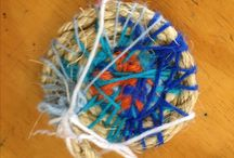 Class 1 Coiled Basketry / Coiled baskets stitched by Class 1 students from Central Coast Rudolf Steiner School using rope, handmade fabric twine and second-hand yarn.