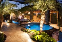 Tropical Lagoon Pools / Custom designed lagoon style swimming pools, swimming pool remodels, and swimming pools with natural stone waterfalls by outdoor designer Lucas Congdon of Lucas Lagoons in Florida