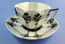 shelley rare-art-deco sunrise and black trees shelley porcelain