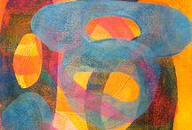 Abstract landscape monoprints