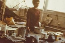 Studio / studio, work space, artist, table, desk, bench, painting, drawing, sewing, atelier