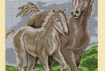 haft krzyżykowy konie