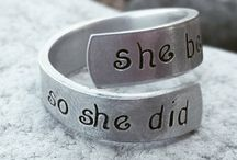 Rings and Earrings / Hand Stamped Rings and Stacking Memorial Rings