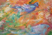 """ORIGINAL """"BIRD"""" ABSTRACT PAINTING BY TEXAS ARTIST / JUST COMPLETED AT MY TEXAS STUDIO.  LOVELY """"BIRDS"""" ORIGINAL ABSTRACT PAINTING IN WATERCOLOR AND ACRYLIC ON RICE PAPER.  SIZE OF ART IS 8.5X10 IN A STAND UP CLEAR PLASTIC FRAME.  GREAT TABLE TOP DECOR.  PURCHASE AT www.etsy.com/shop/UINMIND / by Marsha Gabriel"""