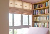 Library and bookshelves