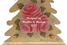 My hp hand painted Shabby Pink Roses Christmas Decor