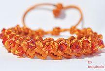 Satin cord bracelets / Bransoletki wykonane z satyny, ozdobione kryształkami SWAROVSKIEGO - BICONE.