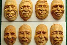 Face / dřevořezba obličejů, náčrtky proporcí, studie