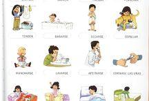 A1 / Tablero para recopilar material enfocado al uso del vocabulario referido a las actividades cotidianas.