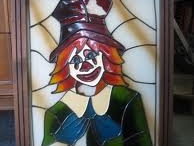 Clown met hoed / Kan met glas of mosaik