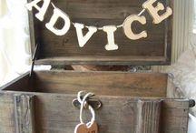 Barn wedding card and advice boxes