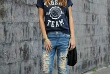 Distressed jeans/tshirts