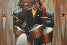 Art -  Morrison, Frank (Jazz) / Black Art/African American Art. Frank Morrison was born in Boston in 1971 and moved with his family to New Jersey in 1980. A self-taught artist, he began his career as a pre-adolescent graffiti artist.  As a member of a break-dancing crew, while touring Europe, he visited the Louvre museum in Paris and was inspired to choose painting as a career. His work is steeped in old world values of family, community and religion though typically rendered with mirth and high-spiritedness.