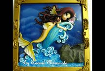 Fairies, witch, mermaids, dragonfly fantasy art.. / Fairies modeled in cold porcelain