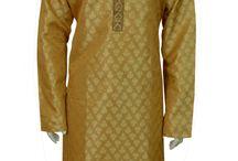 Indian Pakistani mens Sherwanis, Kurta Salwar Kameez - www.desisarees.com / Fancy Men kurta (top) in Gold two tone Self Print Jacquard  fabric in various sizes with zari and resham  work along with cream polyester cotton salwar (pants). For Indian, pakistani  exclusive women children designer sarees, saris, salwar kameez, bridal lehenga choli, wedding cheap, latest, party wear, men, boys sherwani bollywood,  shops in Southall, England UK, Birmingham,  Green Street,  Manchester,  Bradford, Wembley, tooting,  Scotland,  London,   Middlesex,  leicester, Ilford lane.
