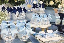 Mesa de postres celeste blue
