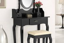 Black Dressing Table Furniture Bed Room Set Stool And Mirror Home Christmas Gift