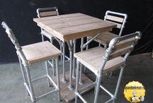 Steigerbuis Tafels / Eettafels, salontafels, bartafels, bijzettafels, tv-meubels, wandmeubels, bureaus of complete eetkamersets gemaakt met behulp van steigerhout, steigerbuizen en buiskoppelingen.