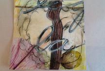Encaustic monoprints / Portraits, encaustic, drawing