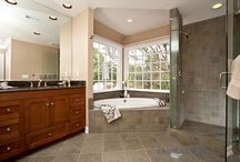 Bathroom Design 49 / Our traditional style master bathroom with an alcove soaker tub.