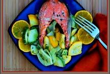 salmon in orange thyme glaze en papillote