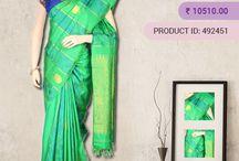 Kanchipuram Silk Sarees / Kanchipuram Pure Silk Sarees - Indian bridal trousseau is resplendent with Traditional Kanchipuram silk sarees and they are perfect for special occasion wear. Shop online from Vijayalakshmi Silks and Sarees