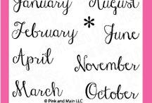 Month Script / Clear stamp from pinkandmain.com