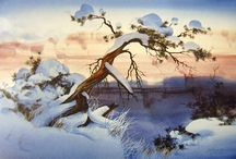 Aquarell Winter Landschaft