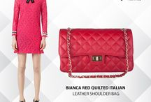 Bianca Red Quilted Italian leather hand bag