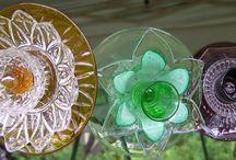 Glass Garden/Yard Art / Flowers, birdbaths, bird feeders, totems,  windchimes, angels made from plates, bowls, vases, etc. / by Romona Springer