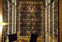 Restaurants Les Climats / Espace cave rangement casiers croisillon en frêne massif teinté biologique avec un moteur déporté et un éclairage LED