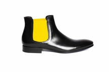 """Phantom Black and Yellow"" by Pete Sorensen / The Phantom is a dandy shoes inspired sixties, seamless design. This is a chelsea boot in full grain superior calf leather. Fully lined in black matte leather on the inside, it has a cushion in the heel (2 cm). Sole design without overhangs makes the Phantom the perfect rock-chic boots day or night."