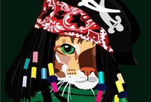 Art: Cat in Hats / Ilustracje kotów są mojego autorstwa. Właściciele kotów chcą je czasem uszczęśliwiać na siłę, ubierając w śmieszne stroje (a może chcą siebie uszczęśliwić?) Tworzę tę serie ilustracji, dlatego, że: 1. Uwielbiam koty 2. Pomysł wydawał mi się fajny