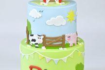 farm christening / baby cakes