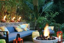 Fire Pits & Fountains / Other ways of adding that comfy touch to your outdoor room! ~MHE / by Michelle Eliason