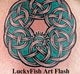 Celtic Circle Knots and Spirals Tattoo Designs / What once were tiny details in illuminated manuscripts can now be magnificent tattoos full of detail and symmetry.  These, and many more, Celtic Tattoo Designs are available for purchase and immediate download at www.LuckyFishArt.com