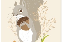 Woodland Creatures Art / Foxes, owls, squirrels, chipmunks, snails, deer, raccoons, and more...
