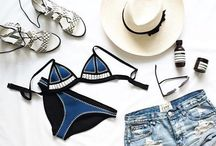 Beach Outfit. / Swimwear, tubes, sunglasses get tanned under the sun.