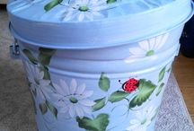 Painted Trash Cans / Galvanized Metal Cans