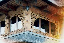 Snycerstwo, Góralski dom. Woodcarving Polish folk style / Folk art., woodcarving, old wood, Polish folk house