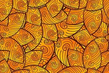 pattern / seamless pattern of abstract yellow leaves