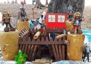 Gâteau anniversaire chevalier et dragon