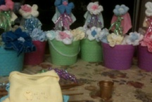 Nappy Cakes, sock flowers, baby shower ideas