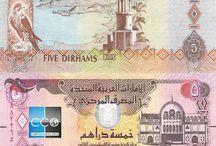 Billets Emirats Arabes / Le dirham émirien est la monnaie officielle des Émirats arabes unis. Les billets de banque Emirats Arabes en circulation sont :  5, 10, 20, 50, 100, 200, 500 et 1000 AED.  Le verso est écrit en arabe avec la numération arabe orientale, le recto est en anglais avec des chiffres arabes. Les billets de 200 dirhams sont assez rares, le gouvernement ayant arrêté leur impression en 1989.
