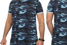 Heren Camo T-Shirt Blauw