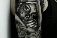 Day of the Dead tattoos / #SantaMuerta #LaCalaveraCatrina #DiaDeLosMuertos #DayoftheDead #Tattoo #Tattoos #Tattooed #Skinart #Tat #Tattooart #Art #Design #Tattoodesign #Tatooisme #Tattooism #Ink #Inked