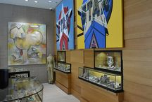The Dina Collection Showroom / A look inside our incredible showroom.  We carry a vast inventory of estate, signed and contemporary jewelry, loose diamonds, art, watches, Hollywood memorabilia and more!